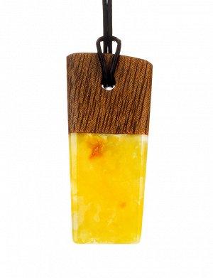 Стильная подвеска из натурального янтаря и древесины «Индонезия», 904508534