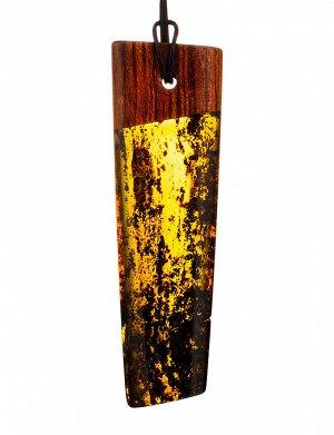 Удлинённая подвеска из натурального янтаря и дерева «Индонезия», 904509395