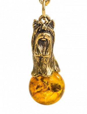 Очаровательный брелок «Йорк» украшенный натуральным янтарём