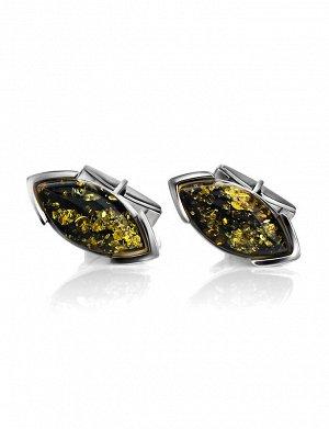 Серебряные запонки с натуральным зелёным янтарем «Маркиз»