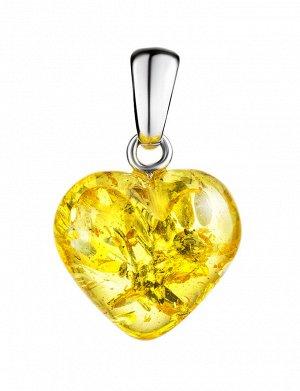 Кулон из натурального искрящегося янтаря «Сердце лимонное», 905405340