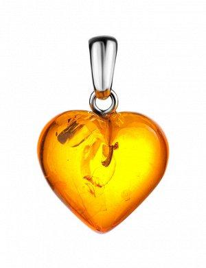 Кулон из натурального янтаря «Сердце коньячное», 905405334