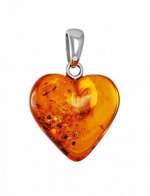 Подвеска из натурального янтаря с серебром «Сердце коньячное», 905405337