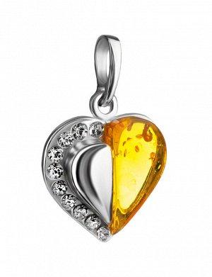 Кулон в форме сердца из серебра и натурального коньячного янтаря, украшенный кристаллами, 905408645