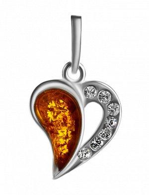 Красивый кулон из серебра и натурального цельного янтаря «Сердце с искрами», 905408644
