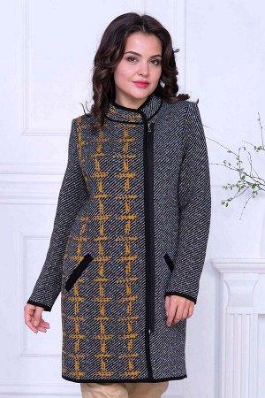 Пальто Пальто Д 2019/горчица-черный  Состав:30% Шерсть 70% Пан Длина изделия:85 см Длина рукава:длинный рукав Пальто женское вязаное, удлинённое, прямого силуэта.Модель универсальна, хорошо сидит на