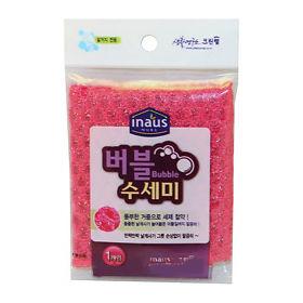 Мочалка-сетка для мытья посуды розовая (ЖЕСТКАЯ)