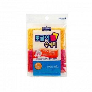 Мочалка для мытья посуды (средней жесткости) (12см*15см) розовая+желтая 2 шт