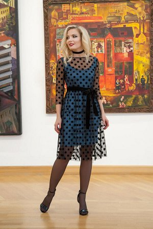 Платье Платье Azzara 609-Р голубой+черный/сетка горох  Состав: ПЭ-96%; Спандекс-4%; Сезон: Межсезонье Рост: 170  Платье женское, нарядное, состоит из двух слоев: чехол из тонкого трикотажного полотна