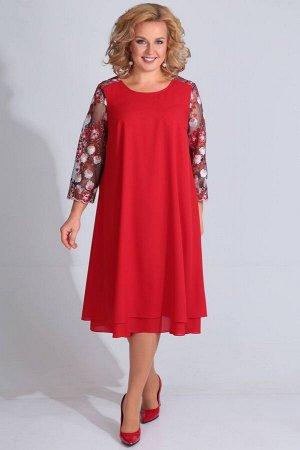 Платье Платье Golden Valley 4610 красное  Состав ткани: ПЭ-100%;  Рост: 164 см.  Платье без воротника, с круглым вырезом горловины, застежкой на навесные петли и пуговицы по среднему шву кокетки спин