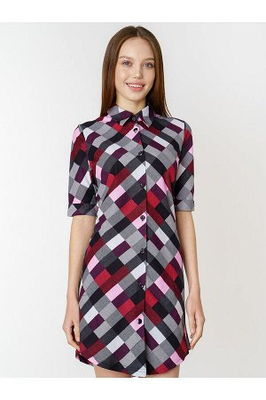 #87191 Платье-рубашка серо-бордовая