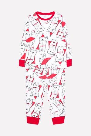 Пижама Цвет: супермишки на белом; Вид изделия: Трикотажные изделия; Полотно: Интерлок; Рисунок: супермишки на белом; Сезон: Осень-Зима; Коллекция: Новый год Новогодняя пижама из хлопкового трикотажа