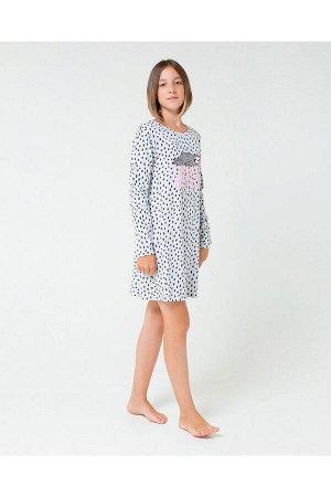 5542 платье/серо-голуб.меланж, крапинка