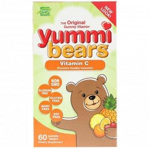 Hero Nutritional Products, Yummi Bears, витамин С, натуральный вкус клубники, апельсина и ананаса, 60 вкусных жевательных мишек