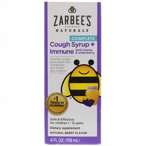 Zarbee's, Children's Complete, Cough Syrup + Immune, Dark Honey & Elderberry, Non-alcohol Formula, Natural Berry Flavor, 4 fl oz