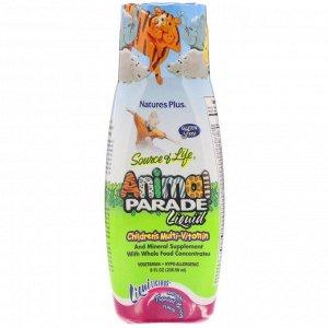 Nature&#x27 - s Plus, Источник жизни, парад животных, жидкий, детский мультивитамин, природный тропический ароматизатор, 236,56