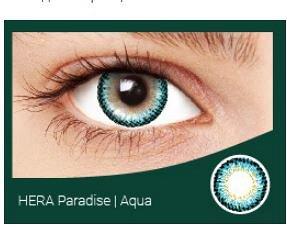 Перекрывающие цветные контактные линзы HERA PARADISE Aqua -1.0 ВС 8.6 (2 линзы)
