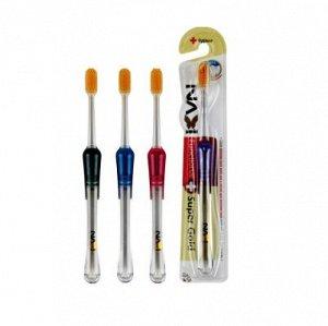 """Зубная щетка """"Navi"""" со сверхтон щетин и прозрачной прорезин ручкой (с ион золота, средн жест) 1 шт"""