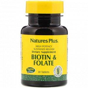 Nature&#x27 - s Plus, Биотин и фолиевая кислота, 30 таблеток