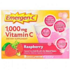 Emergen-C, Витамин С, смесь для газированных напитков со вкусом малины, 1000 мг, 30 пакетиков весом 9,1 г (0,32 унции) каждый