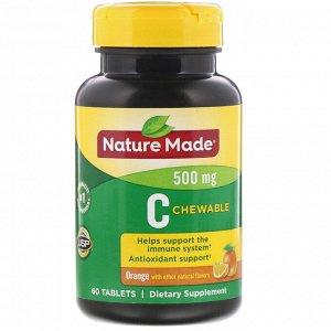 Nature Made, Жевательный витамин С, апельсин, 500 мг, 60 таблеток