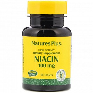 Nature&#x27 - s Plus, Ниацин, 100 мг, 90 таблеток