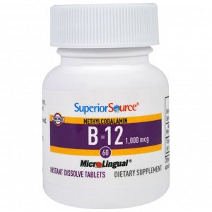 Superior Source, Метилкобаламин B-12, 1000 мкг, 60 быстрорастворимых таблеток MicroLingual