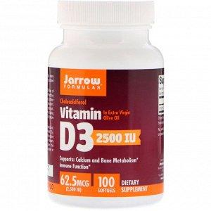 Jarrow Formulas, Витамин D3, холекальциферол, 2500 МЕ, 100 мягких желатиновых капсул