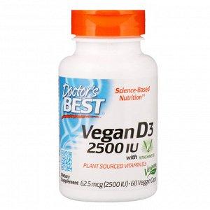 Doctor&#x27 - s Best, Веганский витамин D3 с Vitashine D3, 2500 МЕ, 60 вегетарианских капсул