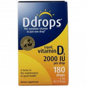 Ddrops, Жидкий витамин D3, 2000 МЕ, 5 мл (0,17 жидкой унции)
