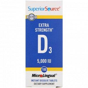 Superior Source, Витамин D3 Extra Strength, 5000 МЕ, 100 быстрорастворимых таблеток MicroLingual