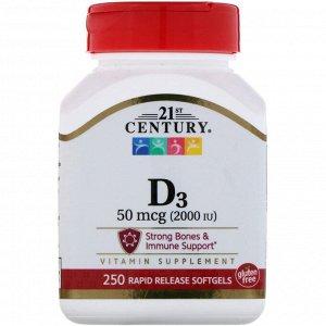 21st Century, Витамин D3, 50 мкг (2000 МЕ), 250 мягких желатиновых капсул