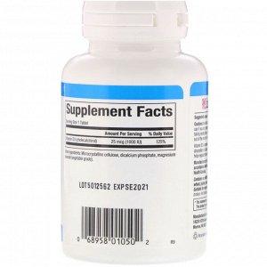 Natural Factors, Витамин D3, 25 мкг (1000 МЕ), 90 таблеток