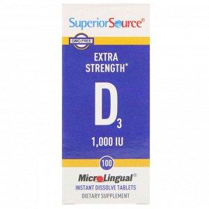 Superior Source, Витамин D3 повышенной силы действия, 1000 МЕ, 100 быстрорастворимых таблеток MicroLingual