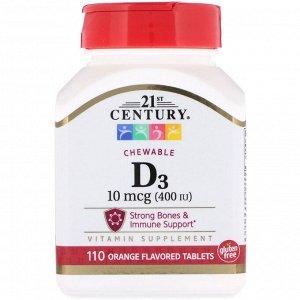 21st Century, Vitamin D3, Chewable, Orange Flavored, 400 IU, 110 Tablets