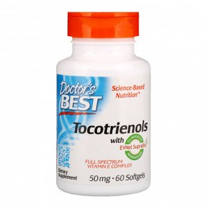 Doctor&#x27 - s Best, Токотриенолы с EVNol SupraBio, 50 мг, 60 мягких таблеток