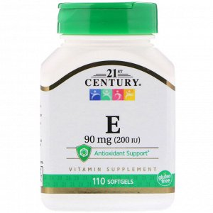 21st Century, E, 90 mg (200 IU), 110 Softgels