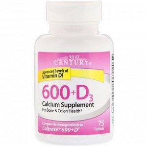 21st Century, 600+D3, Calcium Supplement, 75 Tablets