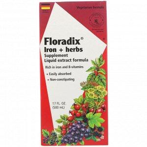 Flora, Floradix, добавка с железом и травами, формула с жидким экстрактом, 500 мл (17 жидк. унций)