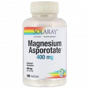Solaray, Аспартат магния, 400 мг, 180 растительных капсул