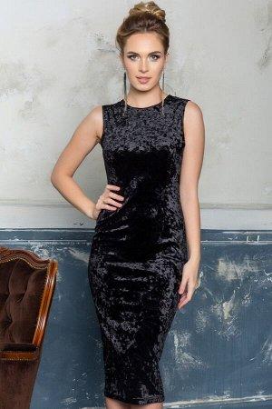 Платье-футляр из черного бархата, 01.034.10.705