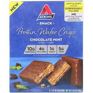 Atkins, Протеиновые вафли, шоколад и мята,  36 г