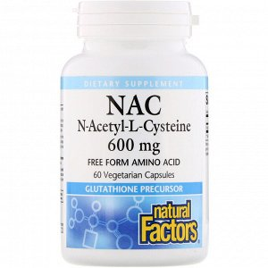 Natural Factors, NAC N-Acetyl-L-Cysteine, 600 mg, 60 Vegetarian Capsules