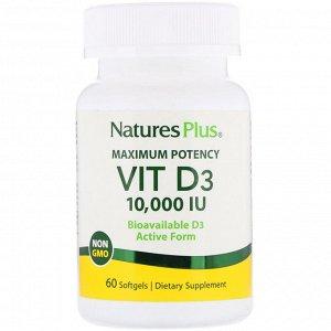 Nature&#x27 - s Plus, Максимальная эффективность, Вит. D3, 10 000 МЕ, 60 мягких таблеток
