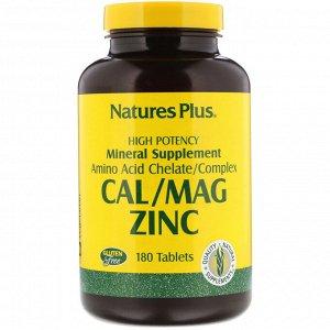 Nature&#x27 - s Plus, Кальций, магний, цинк, 180 таблеток