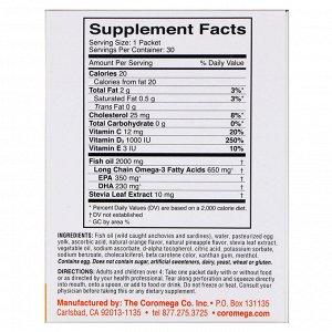 Coromega, Omega-3 + Vit D, тропический апельсин, 30 одноразовых пакетиков, 2,5 г каждый
