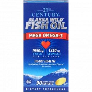 21st Century, Рыбий жир из дикой аляскинской рыбы, 90 желатиновых капсул с энтеросолюбильным покрытием