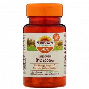 Sundown Naturals, Витамин B12 для рассасывания, ароматизатор «Вишня», 6000 мкг, 60 микропастилок для рассасывания