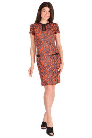 Платье П 180 (красный + цветочный принт)