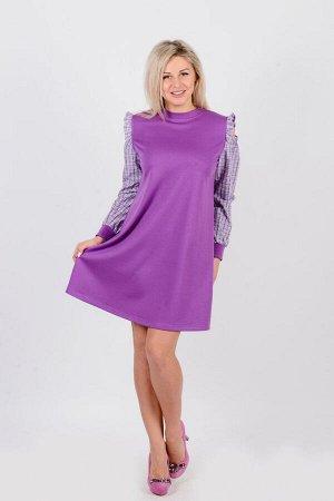 Платье П 633 (сиреневый+клетка)